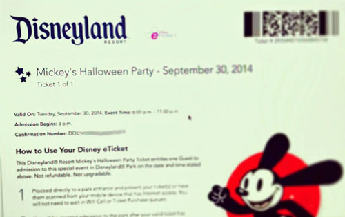 Mickey's Halloween Party Ticket