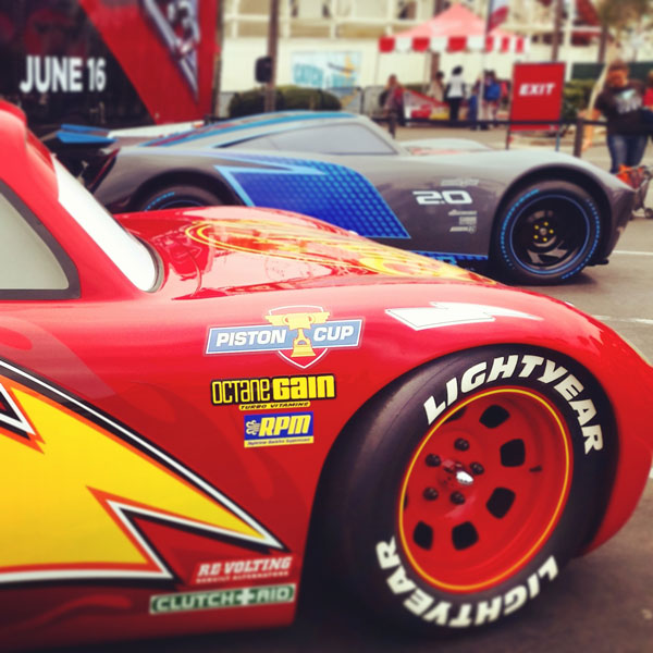 Lightning McQueen and Jackson Storm at Belmont Park ~ www.socalwithkids.com
